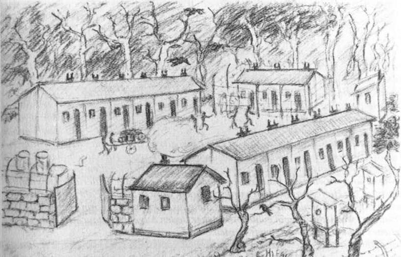 """Barackenlager Ofenkaulen Quelle: """"Vor fünfzig Jahren Kriegsende im Siebengebirge"""" ausgegeben vom Siebengebirgsmuseum"""